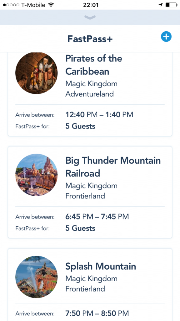 FastPass+ Disneyland Orlando Magic Kingdom